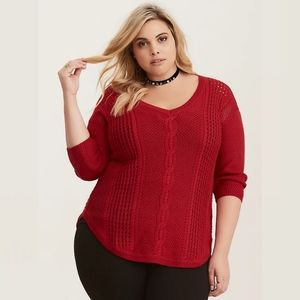 TORRID   cable knit v-neck tunic sweater